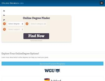 Main page screenshot of onlinedegrees.org