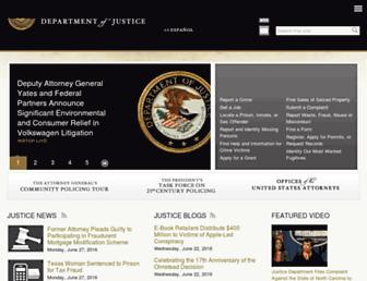 Main page screenshot of justice.gov