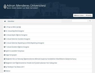 Main page screenshot of etkinlik.adu.edu.tr
