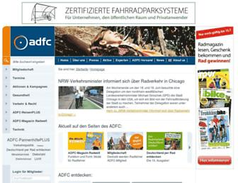 Main page screenshot of adfc.de