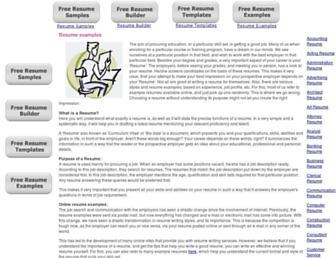 Main page screenshot of exampleresumes.org