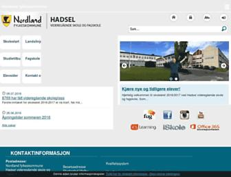 Main page screenshot of hadsel.vgs.no
