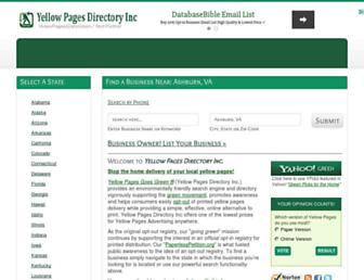 Main page screenshot of yellowpagesgoesgreen.org