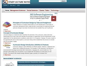 studylecturenotes.com screenshot