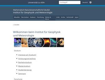 Main page screenshot of geomet.uni-koeln.de