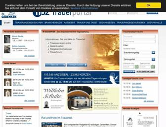 Main page screenshot of traueranzeigen.noz.de