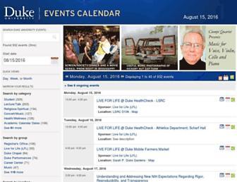Main page screenshot of calendar.duke.edu