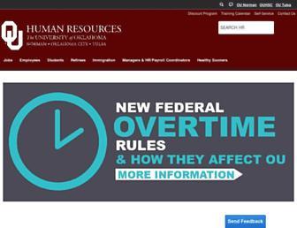 Main page screenshot of hr.ou.edu
