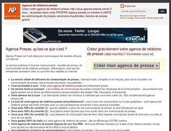 Main page screenshot of agence-presse.net