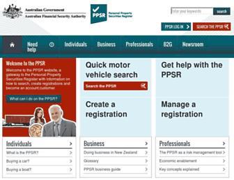 ppsr.gov.au screenshot