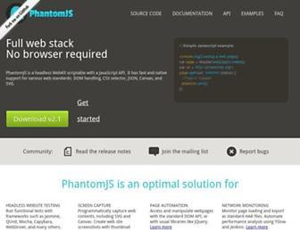 Main page screenshot of phantomjs.org