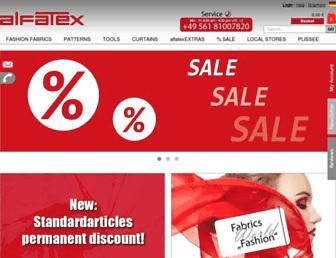 Main page screenshot of alfatex.de