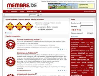 Main page screenshot of membre.de
