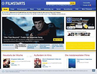 Main page screenshot of filmstarts.de