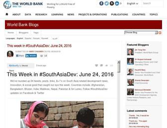 Main page screenshot of blogs.worldbank.org