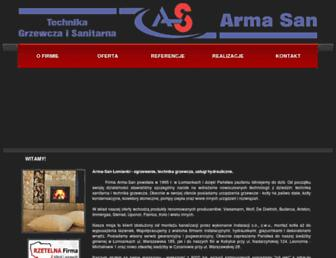 Main page screenshot of armasan.pl