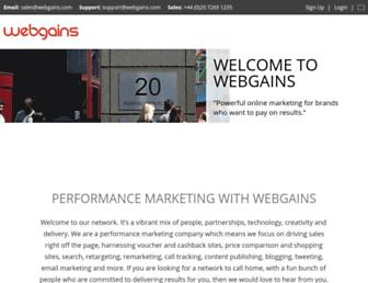 Main page screenshot of blog.webgains.nl