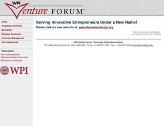 Main page screenshot of wpiventureforum.org