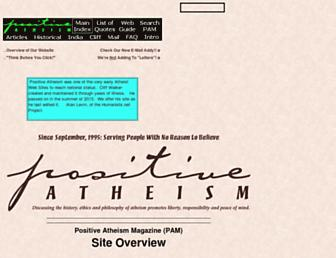 Main page screenshot of positiveatheism.org