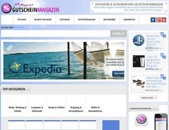 Main page screenshot of gutscheinmagazin.de