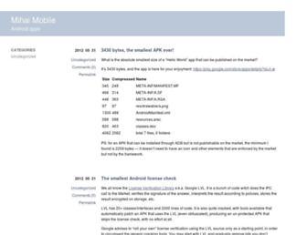 Main page screenshot of blog.javia.org