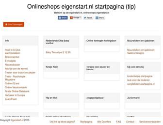 Main page screenshot of onlineshops.eigenstart.nl