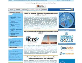 Main page screenshot of unstats.un.org