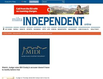 Main page screenshot of independent.com.mt