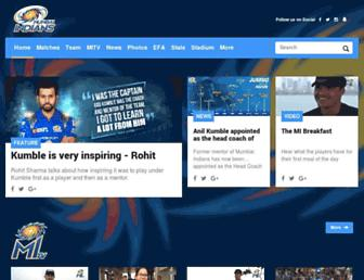 mumbaiindians.com screenshot
