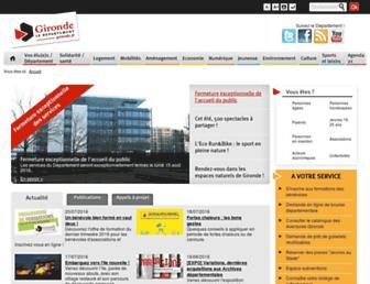 Main page screenshot of gironde.fr