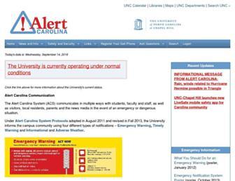 Main page screenshot of alertcarolina.unc.edu