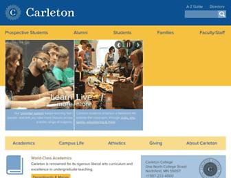 Main page screenshot of carleton.edu