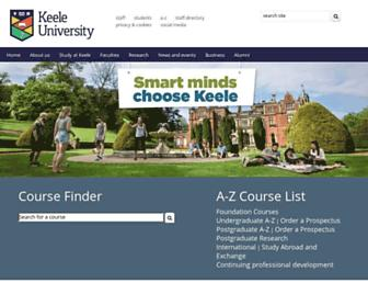 Main page screenshot of keele.ac.uk