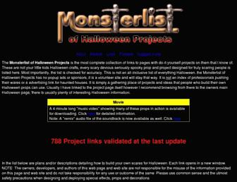 Main page screenshot of halloweenmonsterlist.info