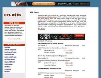 Main page screenshot of nflodds.us