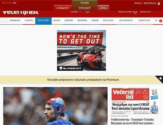 Main page screenshot of vecernji.hr