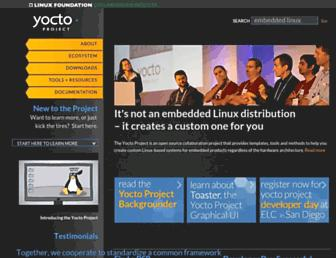 Main page screenshot of yoctoproject.org
