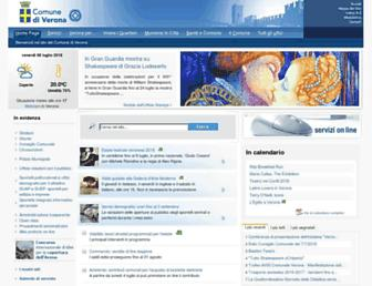 Main page screenshot of comune.verona.it