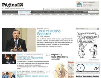 Main page screenshot of pagina12.com.ar