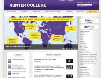 Main page screenshot of hunter.cuny.edu
