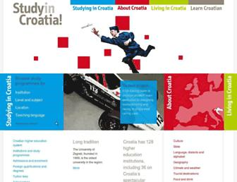 Main page screenshot of studyincroatia.hr