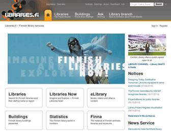 Main page screenshot of libraries.fi