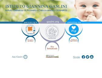 Main page screenshot of gaslini.org
