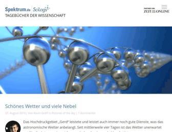 Main page screenshot of scilogs.de