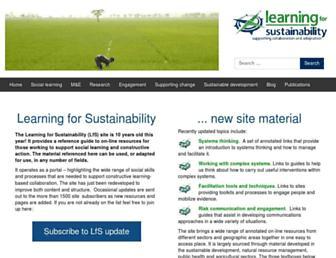 Main page screenshot of learningforsustainability.net
