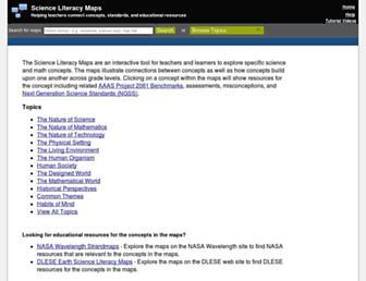 Main page screenshot of strandmaps.nsdl.org