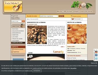 Main page screenshot of recetas.net