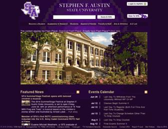 Main page screenshot of sfasu.edu