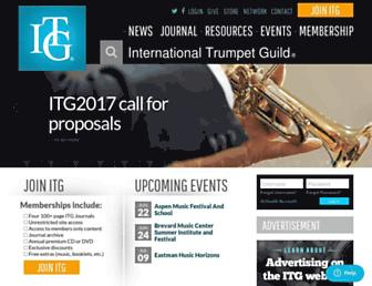 Main page screenshot of trumpetguild.org