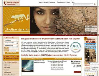 Main page screenshot of studienreisen.de
